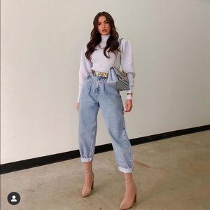 Zara High Waist Mom Straight Oversized Jeans